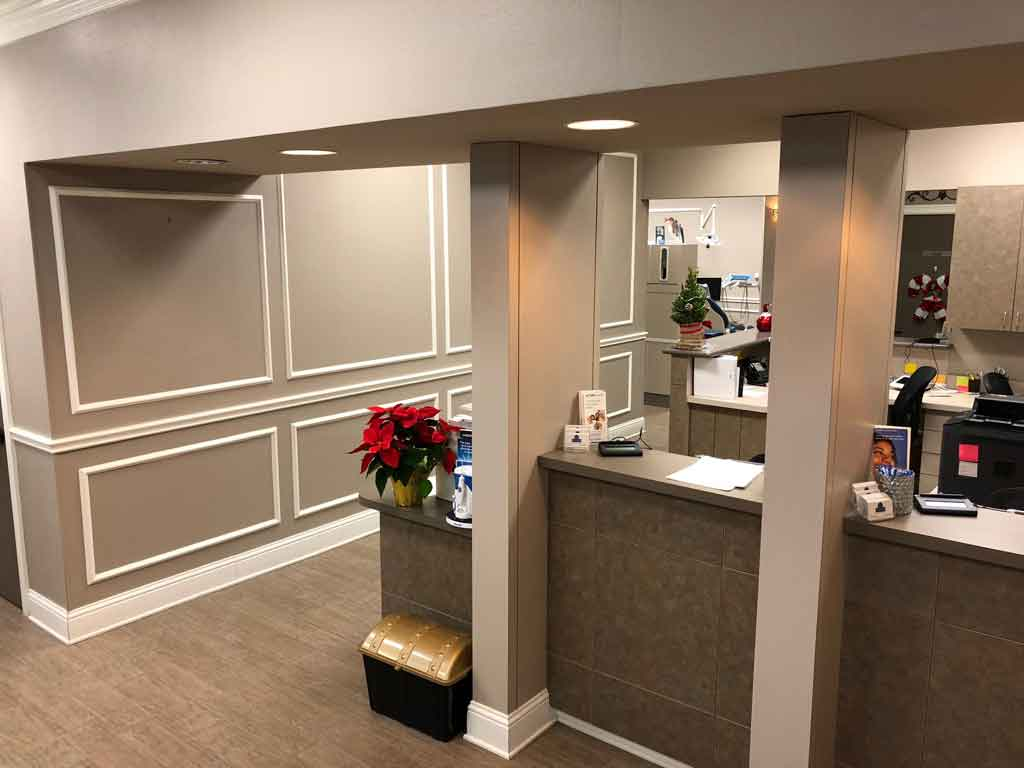 Reception area going towards hallway at McDonald Dental in Houston, TX